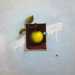 """Composition with an apple"" 2014, oil on canvas 50x50cm"