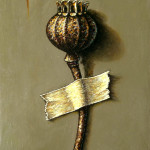Poppy Seedpod oil on panel 12x8cm